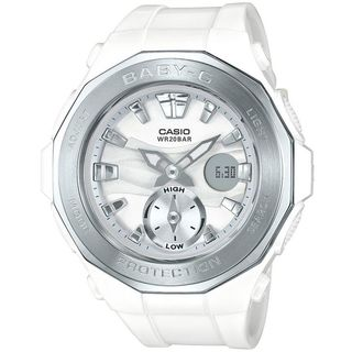 Casio Women's BGA220-7A 'Baby-G' Analog-Digital White Resin Watch