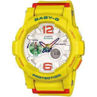 Casio Women's BGA180-9B 'Baby-G' Analog-Digital Yellow Resin Watch