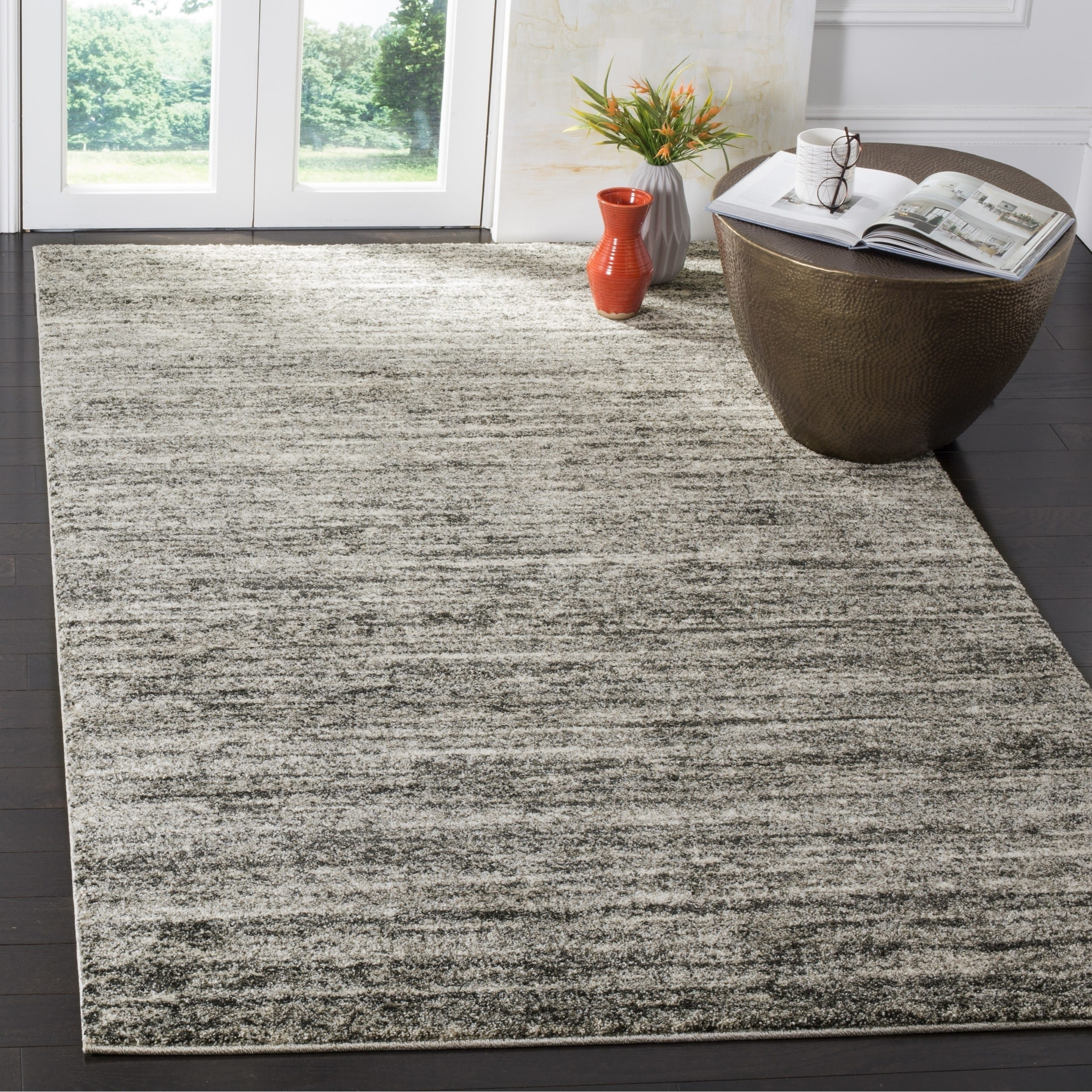 Safavieh Retro Contemporary Stripe Ivory Grey Area Rug 6 X 6