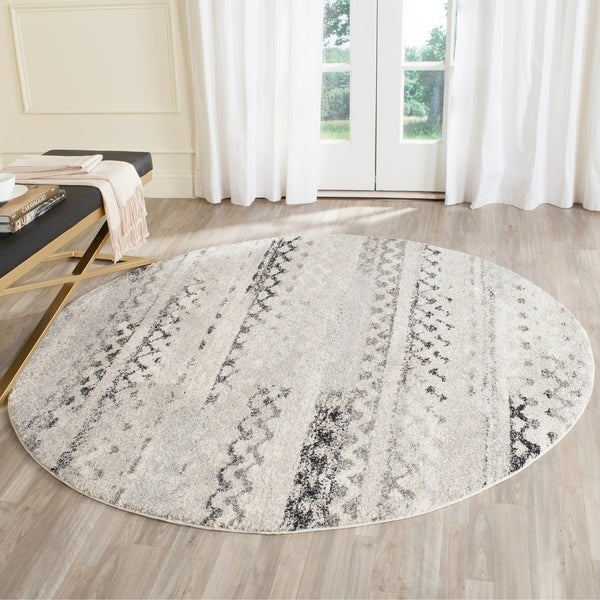 Safavieh Retro Contemporary Geometric Cream/ Grey Area Rug - 4' Round