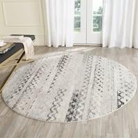 Safavieh Retro Contemporary Geometric Cream/ Grey Area Rug - 8' Round