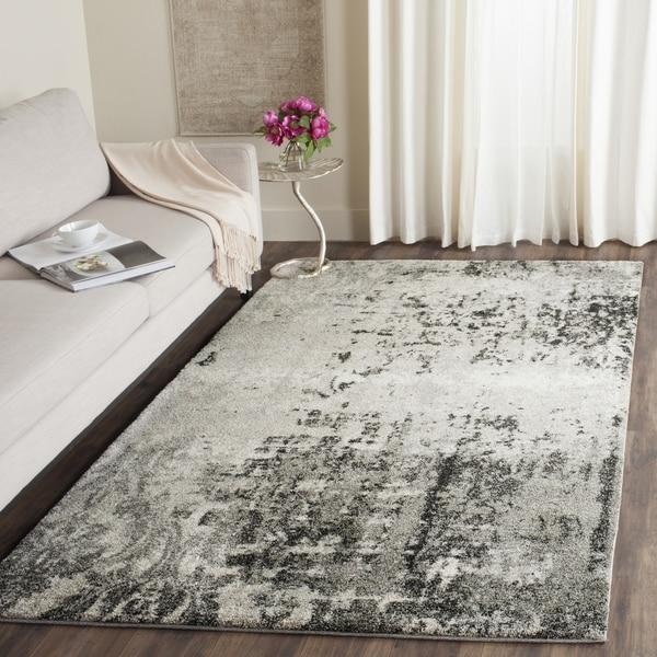 Safavieh Retro Modern Abstract Light Grey/ Grey Area Rug - 4' Square