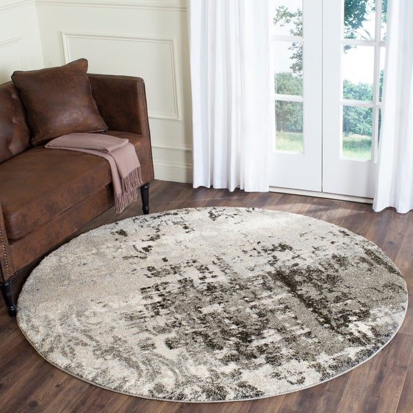 Safavieh Retro Modern Abstract Light Grey/ Grey Area Rug - 8' Round