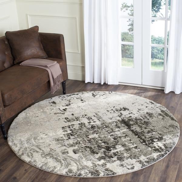 Safavieh Retro Modern Abstract Light Grey/ Grey Area Rug (8' Round)