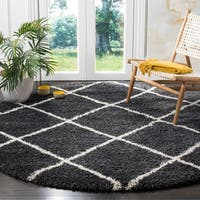 Safavieh Hudson Shag Contemporary Geometric Dark Grey/ Ivory Area Rug - 7' Round