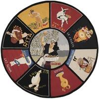 Safavieh Vintage Posters Novelty Animal Wool Assorted Area Rug (5' Round)