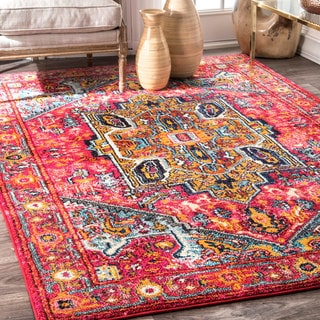 nuLOOM Pink Traditional Shimmering Tribal Medallion Area Rug