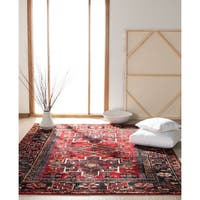 "Safavieh Vintage Hamadan Jasmin Traditional Red/ Multi Rug - 5'3"" x 5'3"" Square"