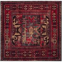 """Safavieh Vintage Hamadan Vintage Oriental Red/ Multi Area Rug - 5'3"""" x 5'3"""" square"""