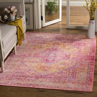 Safavieh Windsor Transitional Geometric Cotton Gold/ Fuchsia Area Rug (6' Square)