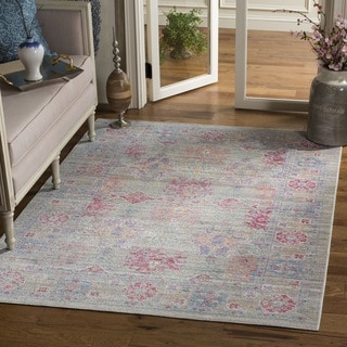 Safavieh Windsor Transitional Geometric Cotton Grey/ Fuchsia Area Rug (6' Square)