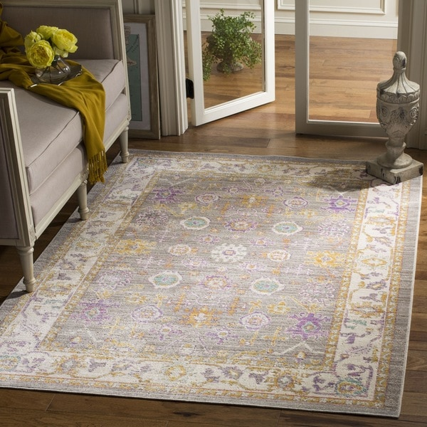 Safavieh Windsor Transitional Geometric Cotton Grey/ Cream Area Rug (6' Square)