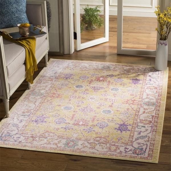Safavieh Windsor Transitional Geometric Cotton Gold/ Lavender Area Rug (6' Square)