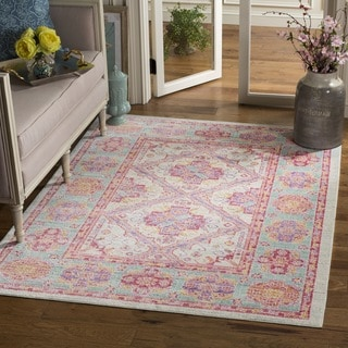 Safavieh Windsor Transitional Geometric Cotton Spa/ Fuchsia Area Rug (6' Square)
