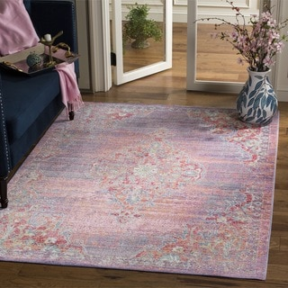 Safavieh Windsor Transitional Geometric Cotton Lavender/ Fuchsia Area Rug (6' Square)