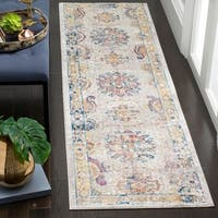 Safavieh Bristol Transitional Oriental Polyester Light Grey/ Blue Runner Rug (2'3 x 8')