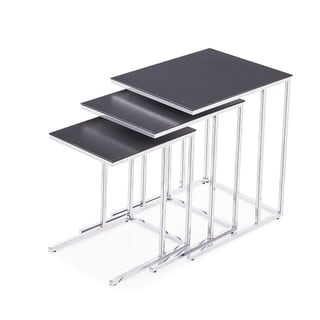 Midtown 3-Piece Grey Ceramic and Stainless Steel Nesting Tables