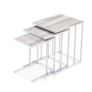 Midtown 3-piece Silver/ White Nesting Tables