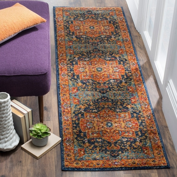 Safavieh Evoke Vintage Geometric Blue/ Orange Runner Rug - 2'2 x 17'