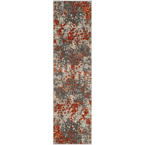 """Safavieh Monaco Shiloh Abstract Watercolor Grey/ Orange Rug - 2'2"""" x 16'"""