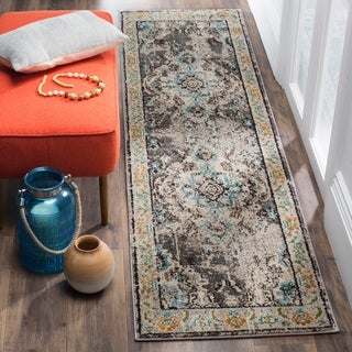 Safavieh Monaco Vintage Oriental Grey/ Light Blue Runner Rug (2'2 x 16')