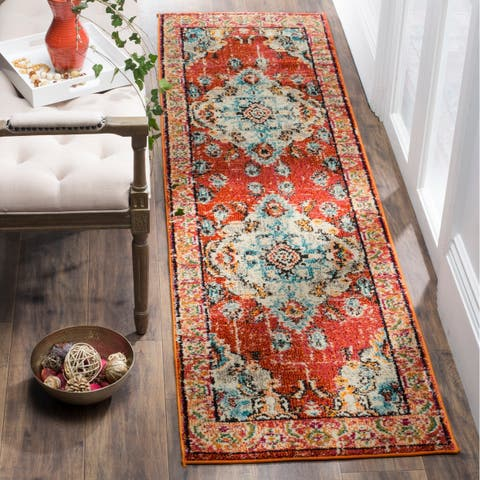 "Safavieh Monaco Amelie Vintage Medallion Orange/ Light Blue Rug - 2'2"" x 22'"