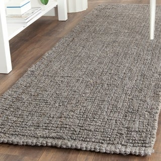 Safavieh Natural Fiber Coastal Geometric Hand-Woven Jute Light Grey Runner Rug (2'6 x 22')