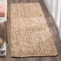 Safavieh Natural Fiber Coastal Geometric Hand-Woven Jute Natural/ Ivory Runner Rug - 2'6 x 16'