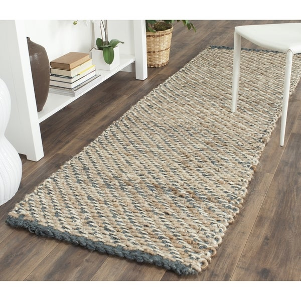 "Safavieh Casual Natural Fiber Hand-Woven Blue/ Natural Jute Runner - 2'-6"" x 12'"