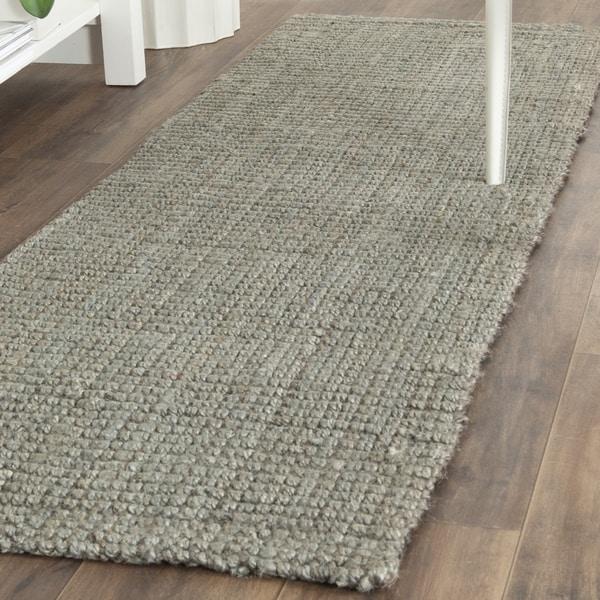 Safavieh Natural Fiber Coastal Geometric Hand-Woven Jute Grey Runner Rug (2'3 x 19')