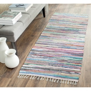 Safavieh Rag Rug Transitional Stripe Hand-Woven Cotton Grey/ Multi Runner Rug (2'3 x 12')