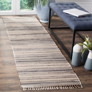 Safavieh Rag Rug Transitional Stripe Hand-Woven Cotton Ivory/ Grey Runner Rug - 2'3 x 5'