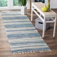 Safavieh Rag Rug Transitional Stripe Hand-Woven Cotton Ivory/ Blue Runner Rug - 2'3 x 12'