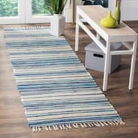 Safavieh Rag Rug Transitional Stripe Hand-Woven Cotton Ivory/ Blue Runner Rug - 2'3 x 5'