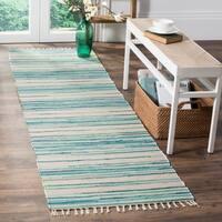 Safavieh Rag Rug Transitional Stripe Hand-Woven Cotton Ivory/ Green Runner Rug - 2'3 x 9'