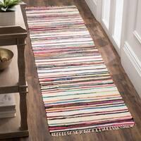 """Safavieh Rag Rug Transitional Stripe Hand-Woven Cotton Ivory/ Multi Runner Rug - 2'3"""" x 7'"""