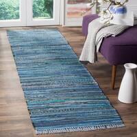 Safavieh Rag Rug Transitional Stripe Hand-Woven Cotton Blue/ Multi Runner Rug - 2'3 x 5'