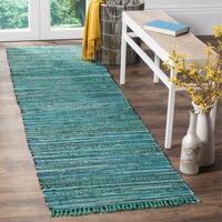 "Safavieh Rag Rug Transitional Stripe Hand-Woven Cotton Turquoise/ Multi Runner Rug - 2'3"" x 12'"