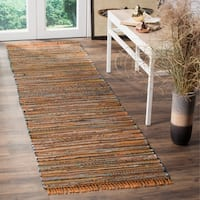 Safavieh Rag Rug Transitional Stripe Hand-Woven Cotton Gold/ Multi Runner Rug - 2'3 x 6'