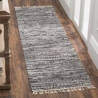 Safavieh Rag Rug Transitional Stripe Hand-Woven Cotton Grey Runner Rug - 2'3 x 5'