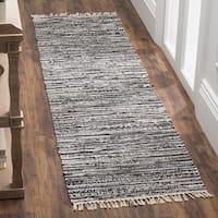 Safavieh Rag Rug Transitional Stripe Hand-Woven Cotton Grey Runner Rug - 2'3 x 9'