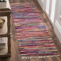 Safavieh Rag Rug Transitional Stripe Hand-Woven Cotton Multi Runner Rug - 2'3 x 7'