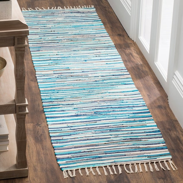 Purple Turquoise Rag Rug: Shop Safavieh Rag Rug Transitional Stripe Hand-Woven
