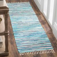 "Safavieh Rag Rug Transitional Stripe Hand-Woven Cotton Turquoise/ Multi Runner Rug - 2'3"" x 7'"