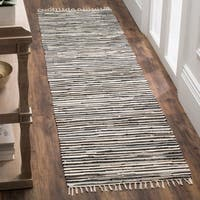 Safavieh Rag Rug Transitional Stripe Hand-Woven Cotton Black/ Multi Runner Rug - 2'3 x 5'