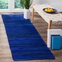 Safavieh Rag Rug Transitional Stripe Hand-Woven Cotton Blue/ Multi Runner Rug - 2'3 x 6'