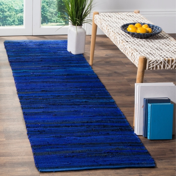 e3928e3188 Safavieh Rag Rug Transitional Stripe Hand-Woven Cotton Blue/ Multi Runner  Rug - 2&