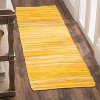 """Safavieh Rag Rug Transitional Stripe Hand-Woven Cotton Yellow/ Multi Runner Rug - 2'3"""" x 11'  Runner"""