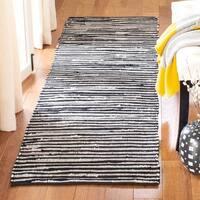 Safavieh Rag Rug Transitional Stripe Hand-Woven Cotton Black/ Multi Runner Rug - 2'3 x 10'