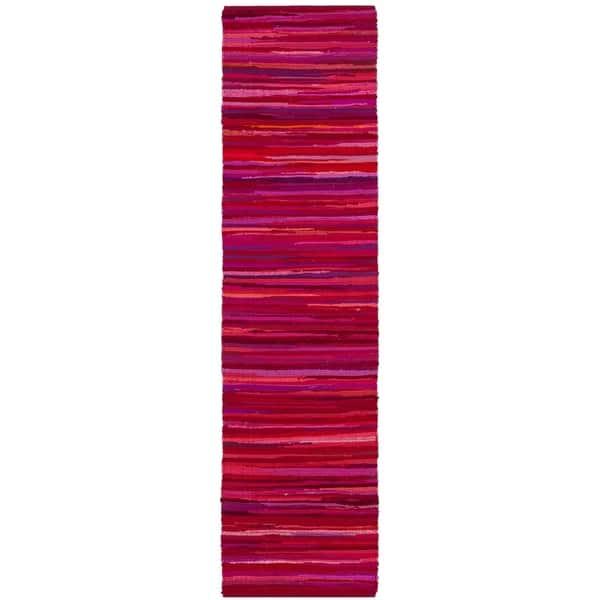 Safavieh Rag Rug Stripe Hand-Woven Cotton Red/ Multi Runner Rug - 2'3
